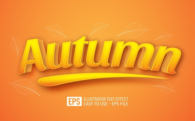 Autumn 3d text editable style effect template
