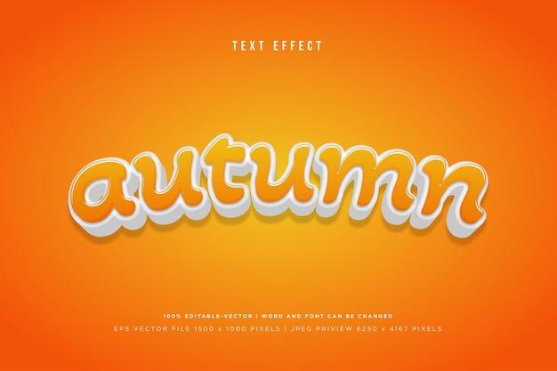 Осенний 3d текстовый эффект на оранжевом фоне