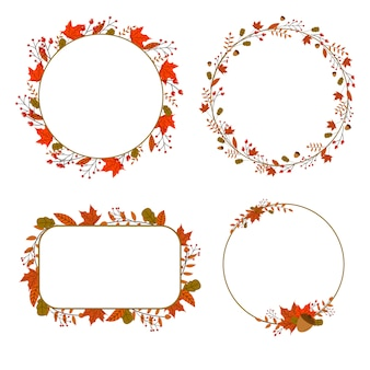 Autumn abstract floral frame