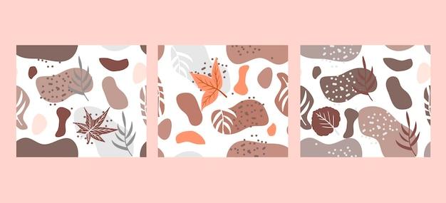 Осенний абстрактный плакат в современном хипстерском стиле. модное современное искусство с осенними листьями. векторная иллюстрация.