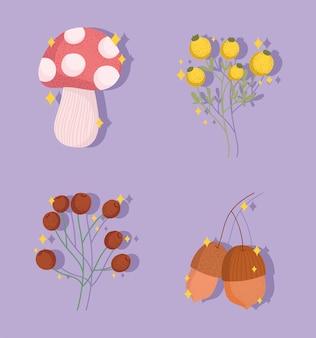 가을 도토리와 버섯 세트
