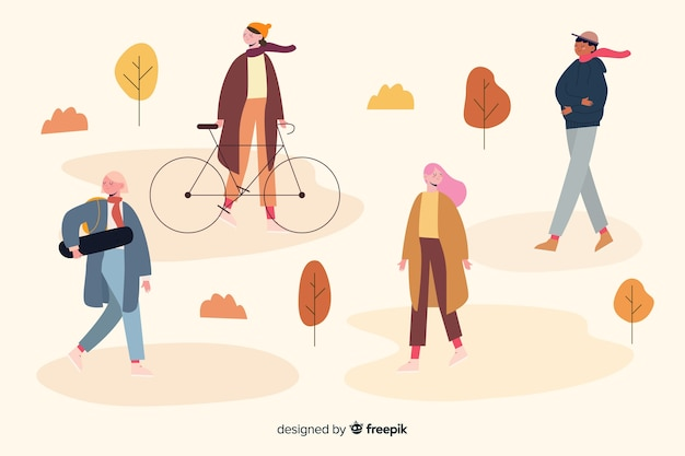 Autumn activities in park illustration design