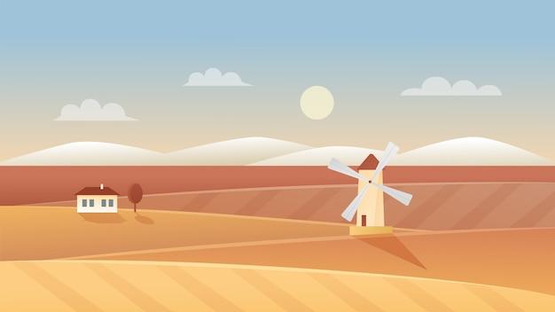 秋の農業風景イラスト。田舎の有機麦畑、農地の農業シーンの背景に風車と農村の家と秋のパノラマの風景