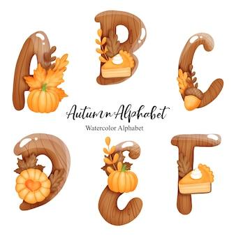 Осенний алфавит с буквой a, b, c, d, e, f. акварельное осеннее письмо с тыквой