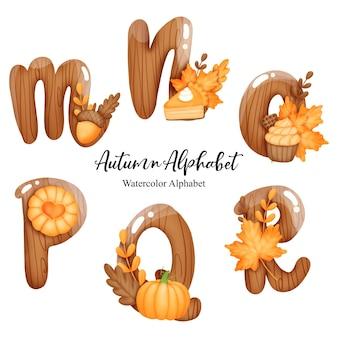 Autumn alphabet with letter mnopqr watercolor autumn letter with pumpkin