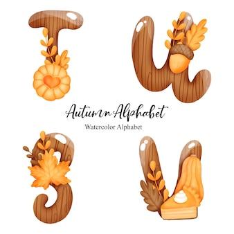 Autumn alphabet with letter s,t,u,v watercolor autumn letter with pumpkin