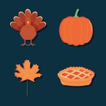 가을과 추수 감사절 아이콘이 파란색 배경 위에 설정