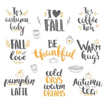 Осень и надписи благодарения вектор надписи, изолированные на белом приветствия день благодарения