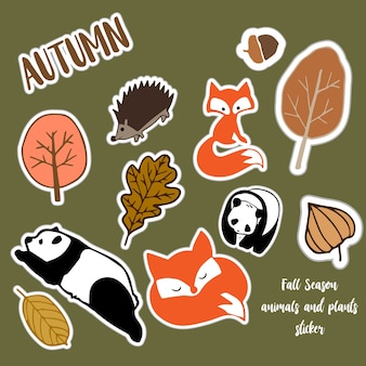 Autumn animal series sticker for decoration