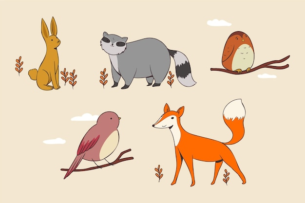 Autumn animals collection