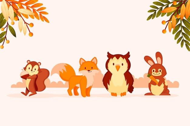 Autumn animals collection