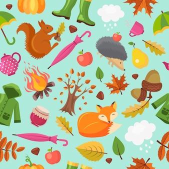 秋の動物のパターン。フォレストフォールズかわいいキツネハリネズミと黄色の葉のオレンジ色のリス秋のシームレスな背景。