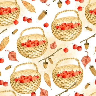 Autumn apple basket watercolor seamless pattern
