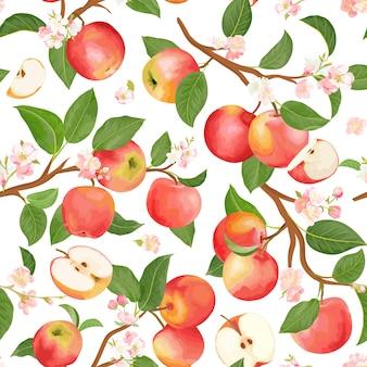 秋のリンゴのシームレスなパターン。夏の果物、葉、花のベクトルの背景。表紙、熱帯の壁紙、ヴィンテージの背景、結婚式の招待状の水彩テクスチャイラスト
