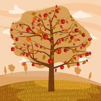 Autumn apple tree landscape fruit harvest season in trend style flat cartoon panorama horizon
