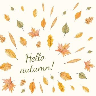 Autumn arrangement with leaves