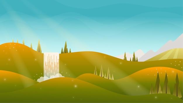 秋秋の風景風景昼間のイラストサンシャイン秋の空の家工場