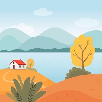 秋。家、川、木々のある秋の風景。フラットスタイルのベクトルイラスト。