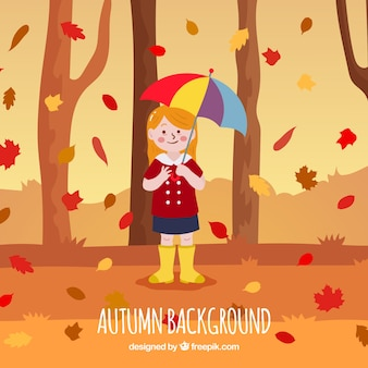 Autumn backgound with forest and girl