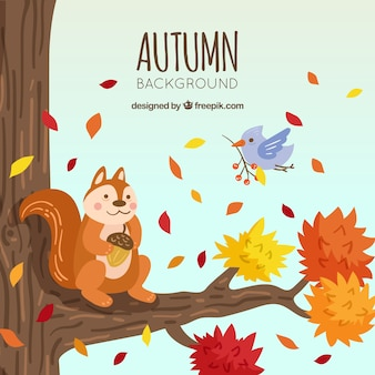 Autumn backgound with tree and animals