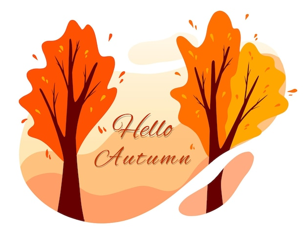 Autumn background. autumn park trees in bright colors, yellow, orange. cartoon style. vector illustration for design and decoration.