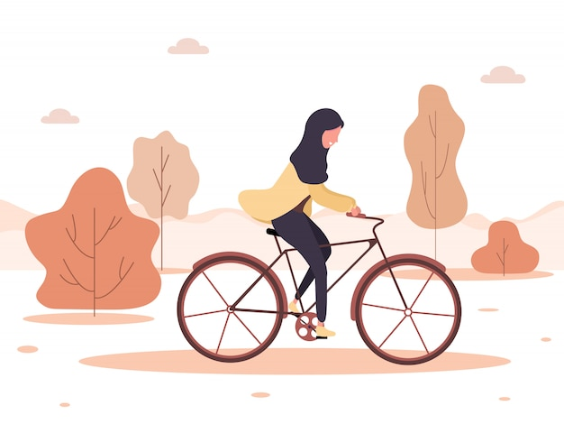 Autumn background. cartoon arab woman in hijab ride on bicycle in park. healthy lifestyle. eco transportation. modern illustration in flat style.