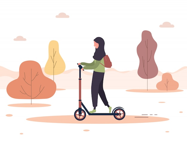 Autumn background. cartoon arab woman in hijab ride on scooter in park. healthy lifestyle. eco transportation. modern illustration in flat style.
