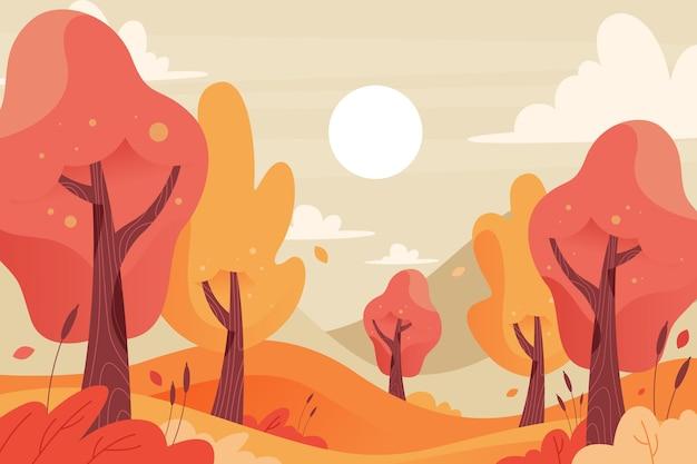 秋の背景のカラフルな木