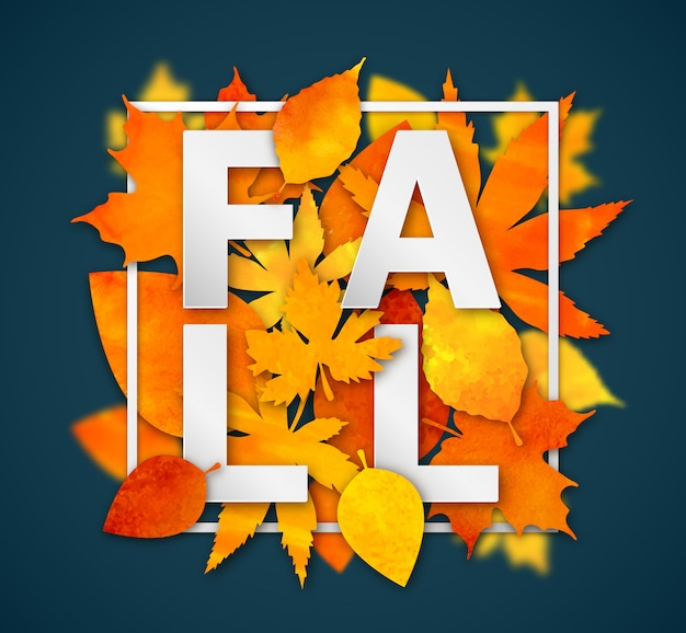 Autumn background. colorful watercolor leaves and word fall