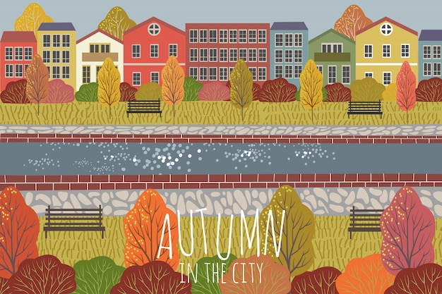 Autumn background. cute flat vector illustration of city landscape with houses