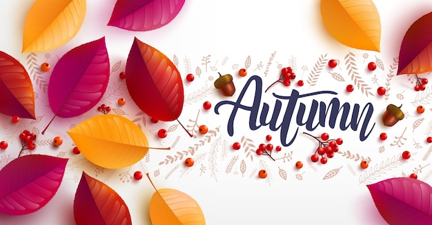 Autumn background decorate with autumn colorful leaves for poster and banner template