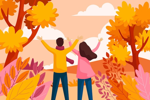 Autumn background in flat design