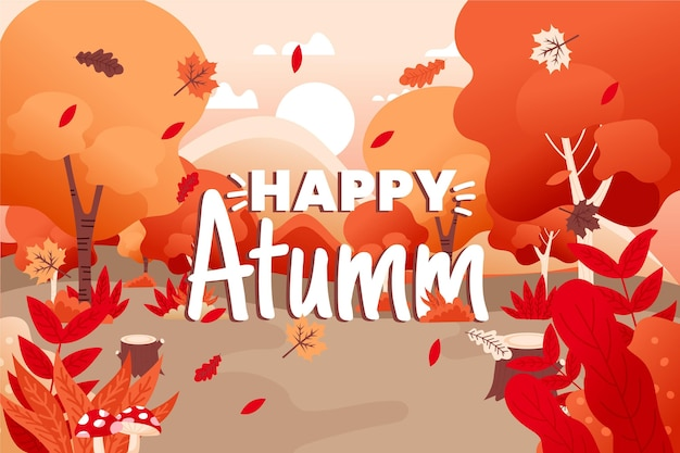 秋の背景手描きスタイル