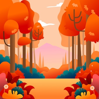 Autumn background illustration landscape