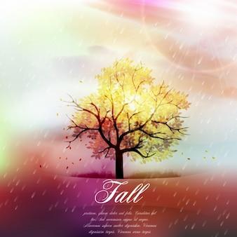 秋の背景、葉の秋と雨
