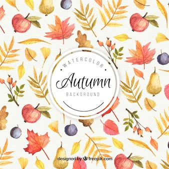 Autumn background painted with watercolors