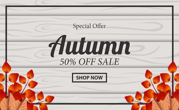 Autumn background sale banner with leaves on the wood