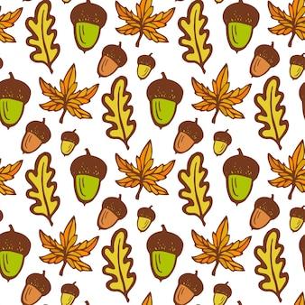 秋の背景。ドングリとメープル、オークの葉でシームレスなパターン。手描きのベクトル