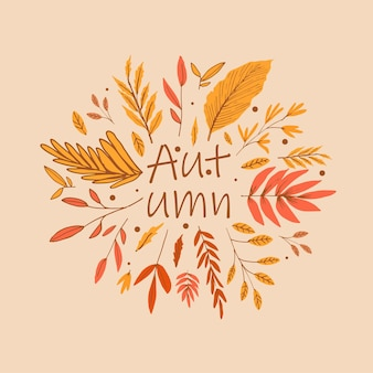 Autumn background template with leaves
