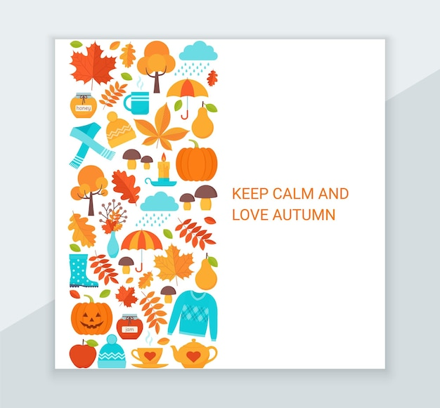 Autumn background. vector. hello autumn greeting card. fall leaves decoration square poster.