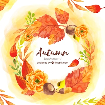 Autumn background in watercolor style
