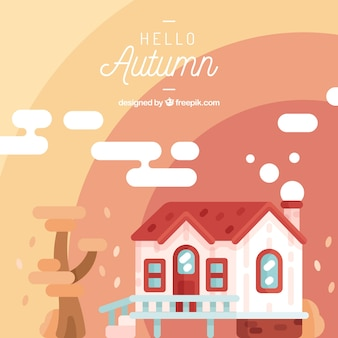 Autumn background with a house