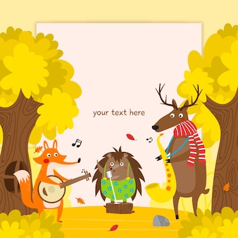 Autumn background with animals playing music
