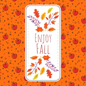 Autumn background with apple pattern and leaves