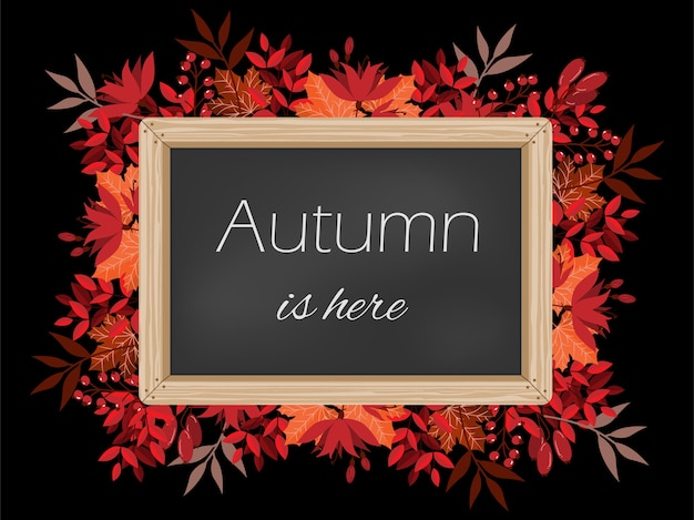 Autumn background with autumn is here text on blackboard.