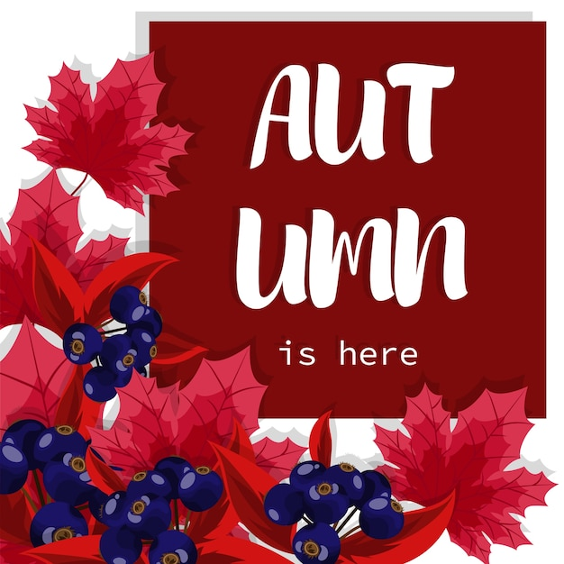 Autumn background with autumn is here text.