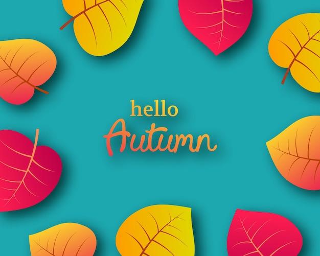Осенний фон с осенними желтыми листьями и местом для текста. дизайн баннера или плаката осеннего сезона. векторная иллюстрация