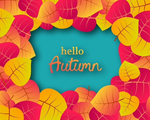 Autumn background with autumn yellow leaves and place for text. design for fall season banner or poster. vector illustration
