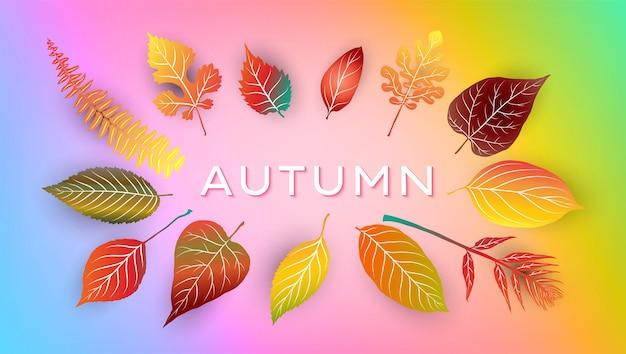 Осенний фон с яркими осенними листьями. векторная иллюстрация