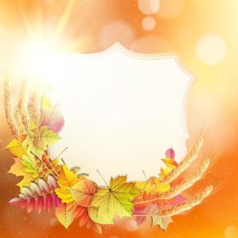 Осенний фон с разноцветными листьями и место для текста.